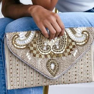 Constantinople Gold Beaded Clutch Lulus